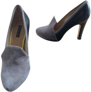 Massimo Dutti Leather Suede Heels For Pants Black and grey Pumps