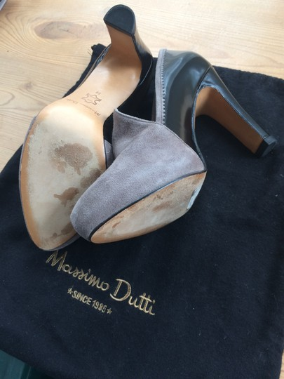 Massimo Dutti Leather Suede Heels For Pants Black and grey Pumps Image 1