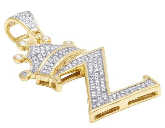 Jewelry Unlimited 10K Yellow Gold Diamond Tilted Crown Initial