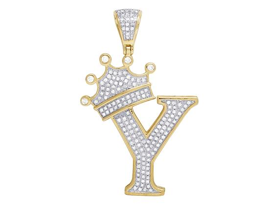 Preload https://img-static.tradesy.com/item/23123587/jewelry-unlimited-10k-yellow-gold-diamond-tilted-crown-initial-y-pendant-055-ct-16-charm-0-0-540-540.jpg