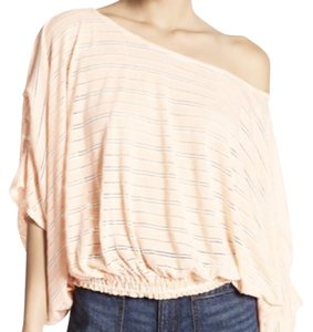 Free People One Shoulder Striped Oversized Smock Top Ivory