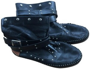 Luciano marra Moccasin Leather Casual Handsewn Black Boots