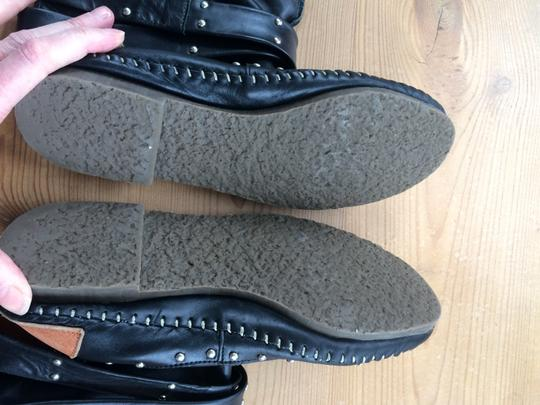 Luciano marra Moccasin Leather Casual Handsewn Black Boots Image 2