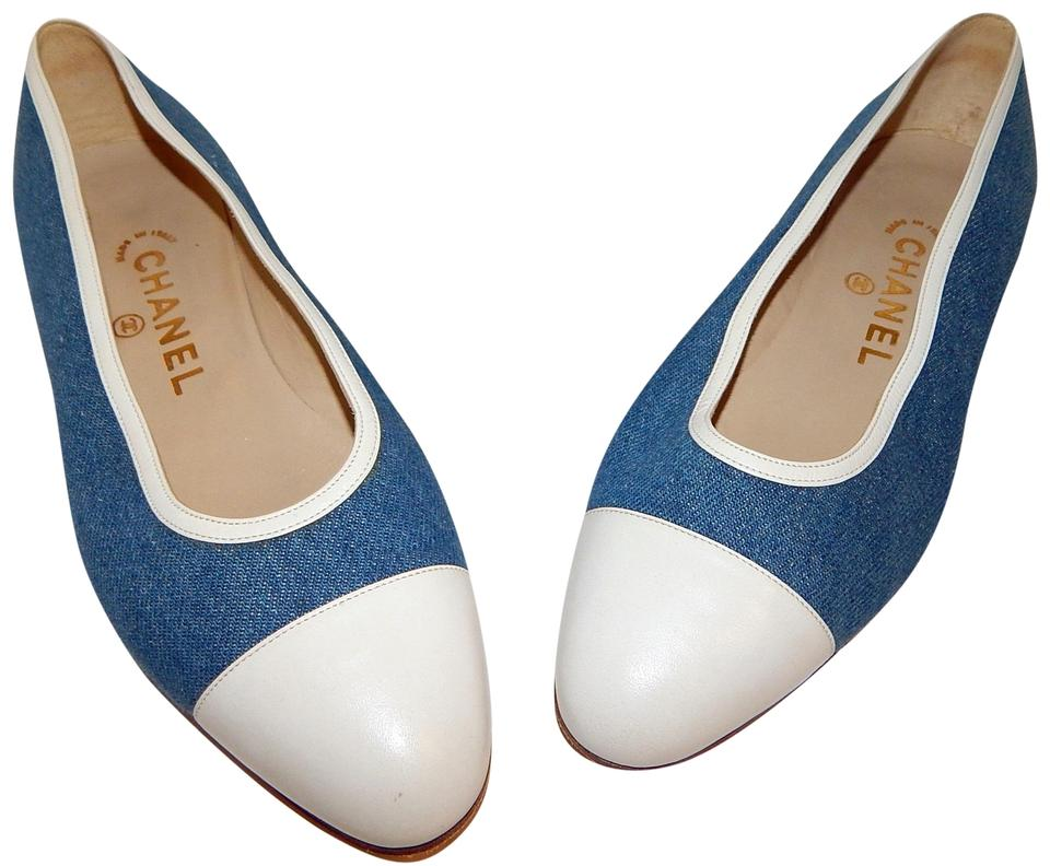 55787bedf23 Chanel Blue Denim White Leather Cc Toe Cap Ballet Flats Size EU 37 ...