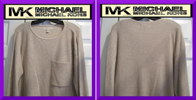 MICHAEL Michael Kors Gold Hardware Exposed Zip Cuffs Honeycomb Texture Drop Shoulders Raglan Style Sweater Image 1