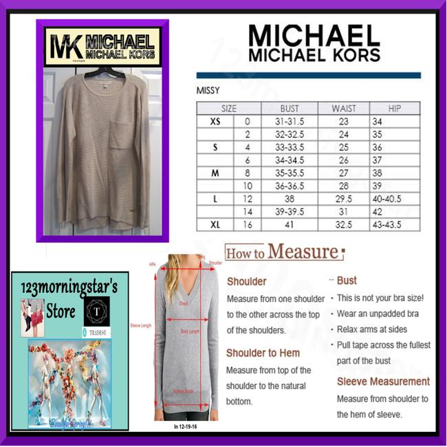 MICHAEL Michael Kors Gold Hardware Exposed Zip Cuffs Honeycomb Texture Drop Shoulders Raglan Style Sweater Image 11