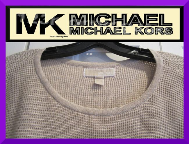 MICHAEL Michael Kors Gold Hardware Exposed Zip Cuffs Honeycomb Texture Drop Shoulders Raglan Style Sweater Image 3