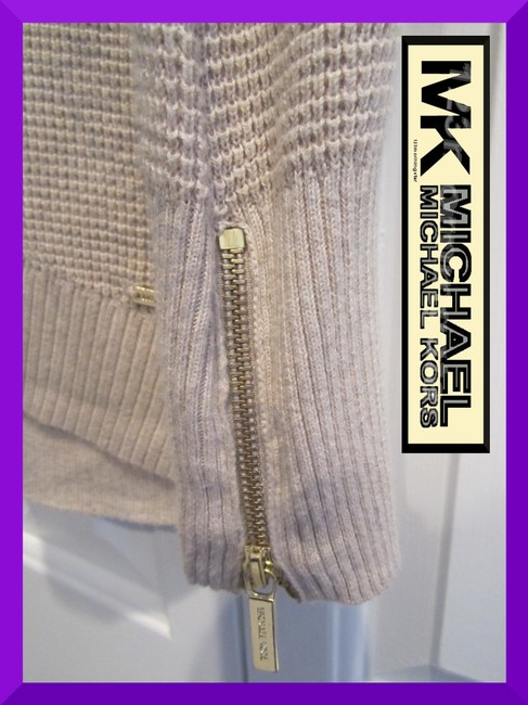 MICHAEL Michael Kors Gold Hardware Exposed Zip Cuffs Honeycomb Texture Drop Shoulders Raglan Style Sweater Image 4