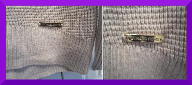 MICHAEL Michael Kors Gold Hardware Exposed Zip Cuffs Honeycomb Texture Drop Shoulders Raglan Style Sweater Image 8