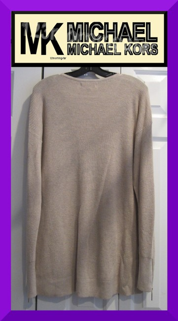 MICHAEL Michael Kors Gold Hardware Exposed Zip Cuffs Honeycomb Texture Drop Shoulders Raglan Style Sweater Image 9