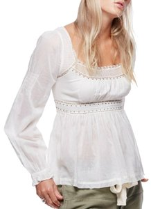 Free People Longsleeve Smock Ruffle Studded Top Ivory