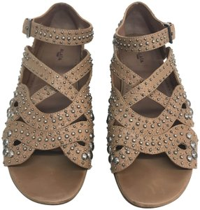 ALAÏA Studded Kid Tan Flats