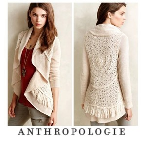 Anthropologie Knitted Knotted Fringe Cardigan Sweater