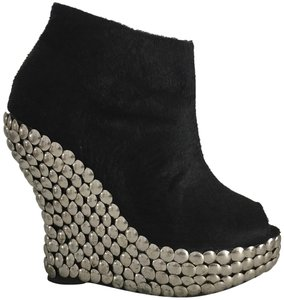 Jeffrey Campbell Vintage Studded Faux Fur Rare Black and Silver Boots