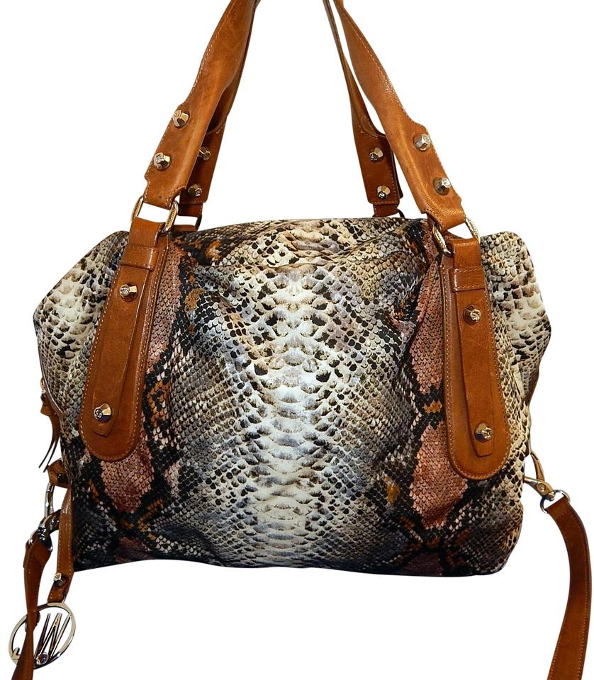 386e9dd43c0e Stuart Weitzman Python Print Brown Leather Xl Duffle Multi Color ...