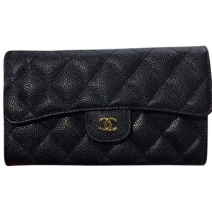 Chanel Classic Trifold Flap Black Caviar with Gold Harware