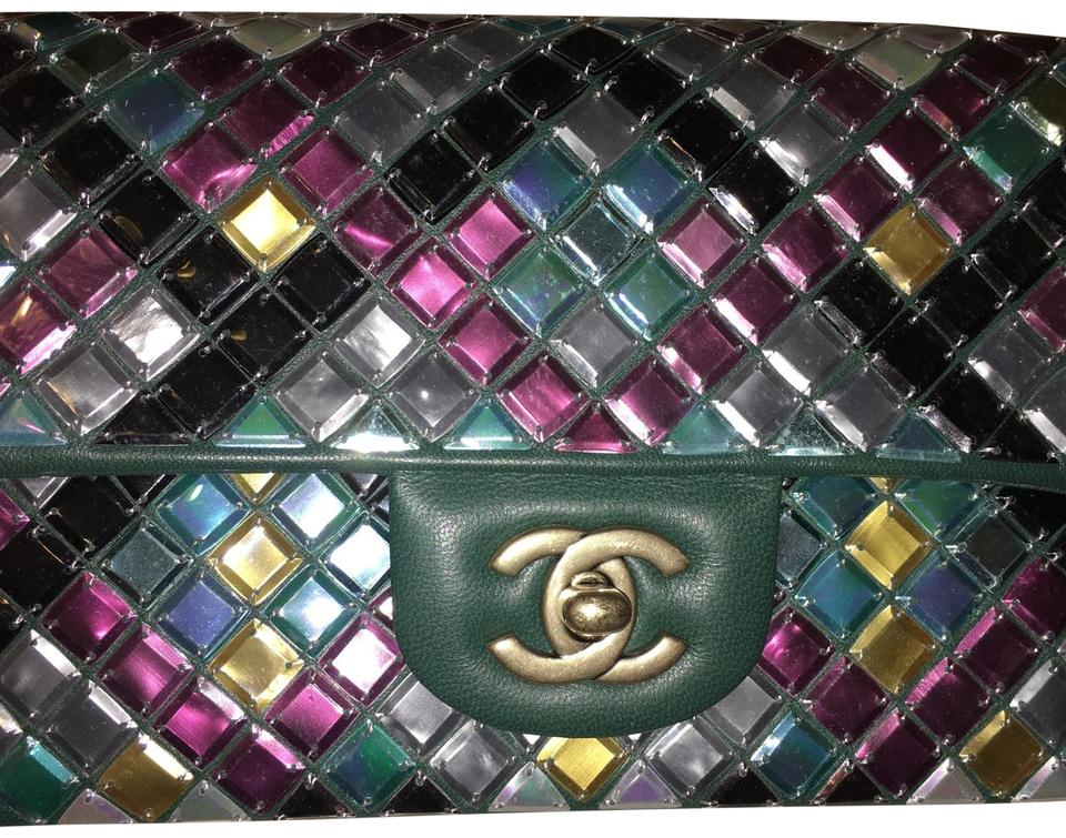 a693f451609f Chanel Classic Flap Mosaic - Small Green Lambskin Leather Cross Body ...