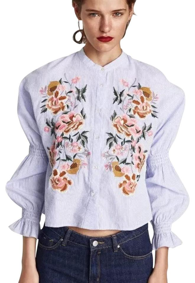 c943d06c70897c Zara White Navy Floral Embroidery Shirt Blouse Size 2 (XS) - Tradesy