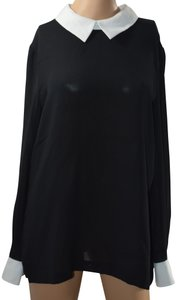 DKNY Sexy Long-sleeve Sheer Split Collar Top Black - item med img
