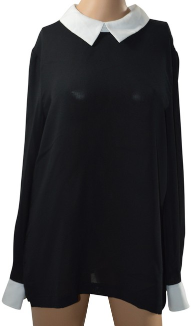 DKNY Sexy Long-sleeve Sheer Split Collar Top Black Image 0
