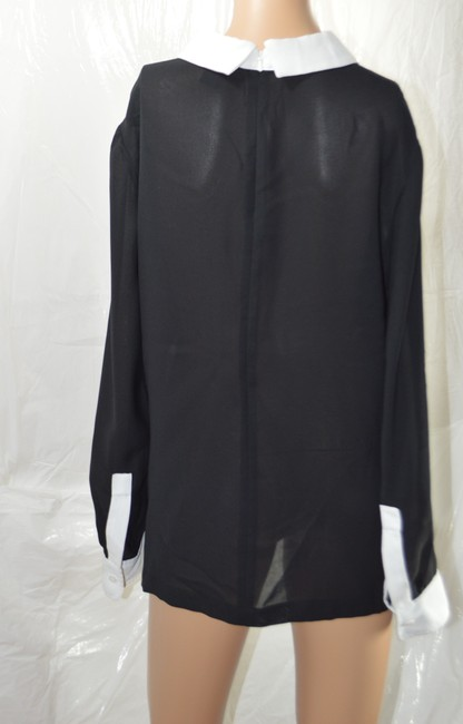 DKNY Sexy Long-sleeve Sheer Split Collar Top Black Image 1