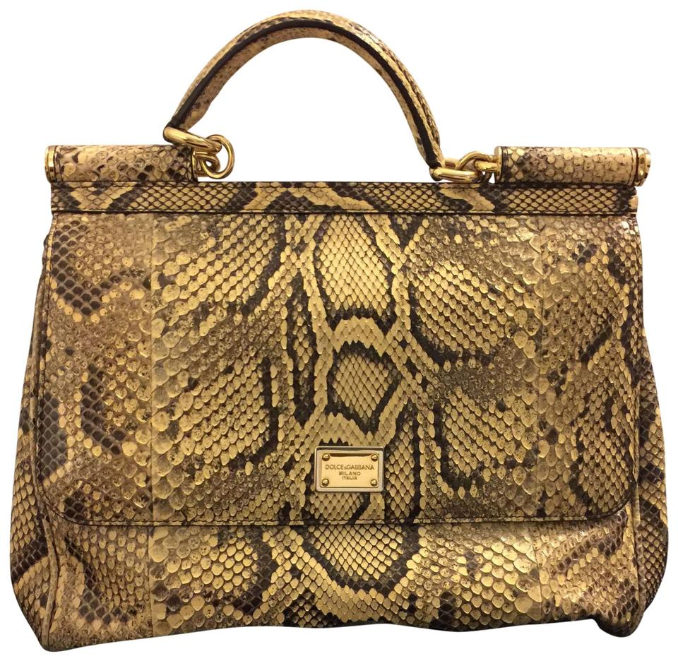 11a5254305be Dolce Gabbana Dolce and Gabbana Large Miss Sicily Brown Gold Python ...