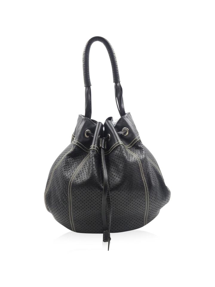 Prada Perforated Buffalo Drawstring Black Leather Shoulder Bag - Tradesy cfeaeb82113a8