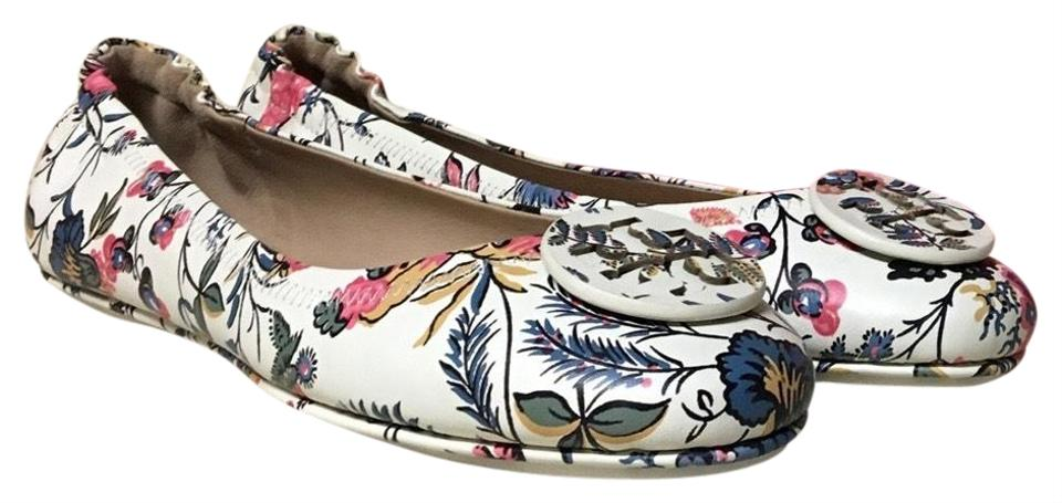 80940ab7e19786 Tory Burch Gabriella Floral New Ivory Minnie Travel Ballet Flats ...