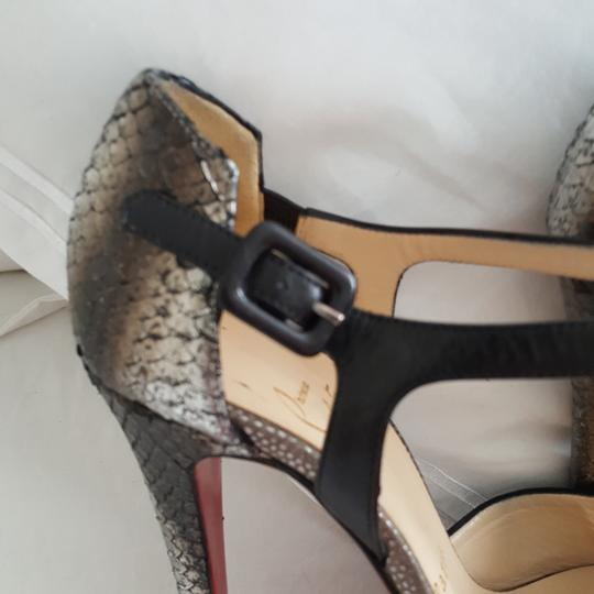 Christian Louboutin Silver snake look and black suede pumps Platforms Image 1