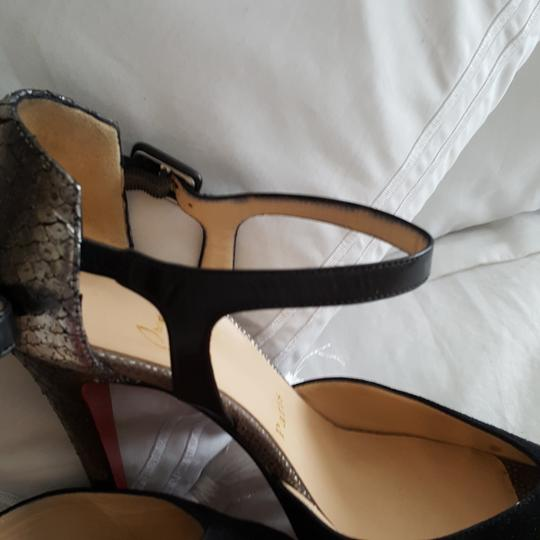 Christian Louboutin Silver snake look and black suede pumps Platforms Image 2