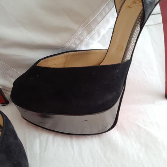 Christian Louboutin Silver snake look and black suede pumps Platforms Image 4