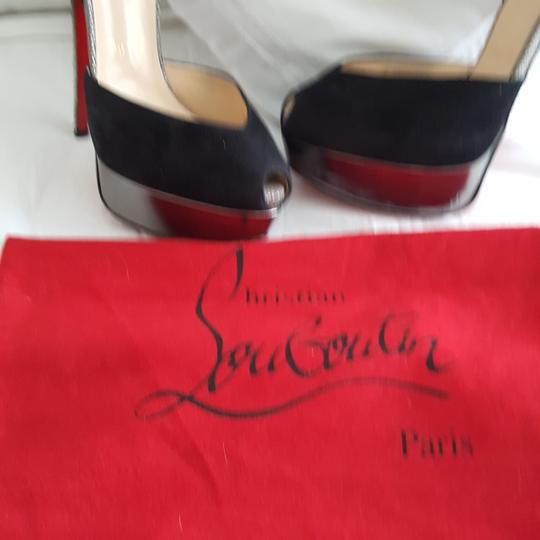 Christian Louboutin Silver snake look and black suede pumps Platforms Image 8