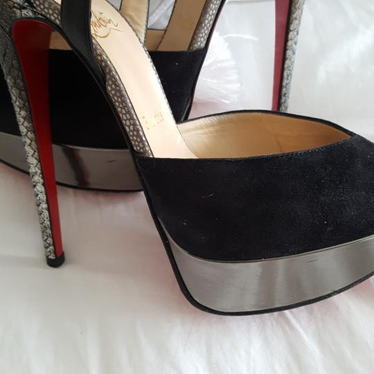 Christian Louboutin Silver snake look and black suede pumps Platforms Image 9