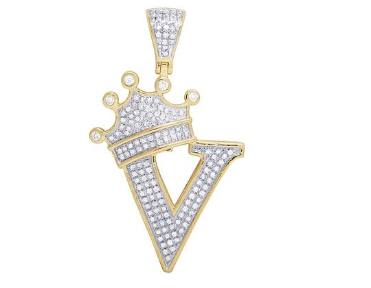 Preload https://img-static.tradesy.com/item/23124625/jewelry-unlimited-10k-yellow-gold-diamond-tilted-crown-initial-v-pendant-050-ct-16-charm-0-0-540-540.jpg
