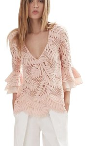5073aecf Alexis Guipure Crochet Lace Bell Sleeve Going Out Top Pink