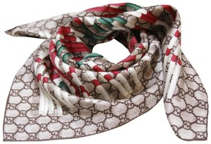 Gucci Gucci Edrial Beige with web Green/Red print square silk scarf wrap