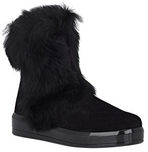 Prada Winter Black Fur Shearling Suede Zip Flat Ankle Boots/Booties Boots