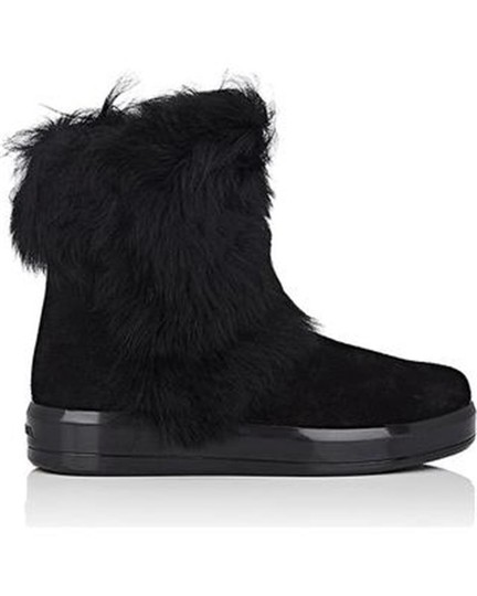 Prada Winter Black Fur Shearling Suede Zip Flat Ankle Boots/Booties Boots Image 1