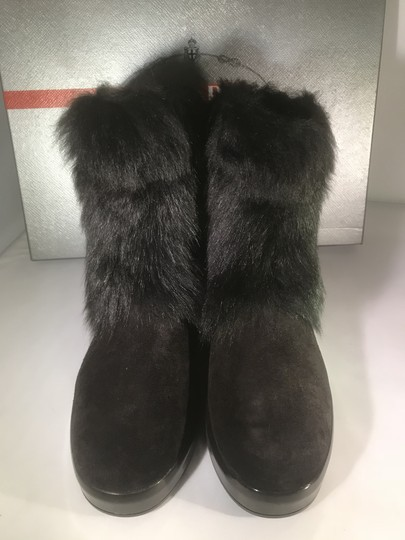 Prada Winter Black Fur Shearling Suede Zip Flat Ankle Boots/Booties Boots Image 10