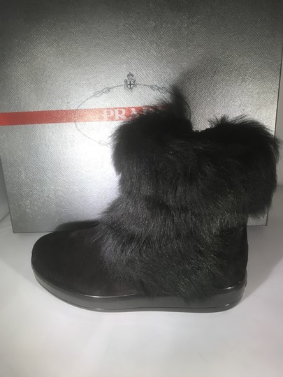 Prada Winter Black Fur Shearling Suede Zip Flat Ankle Boots/Booties Boots Image 11