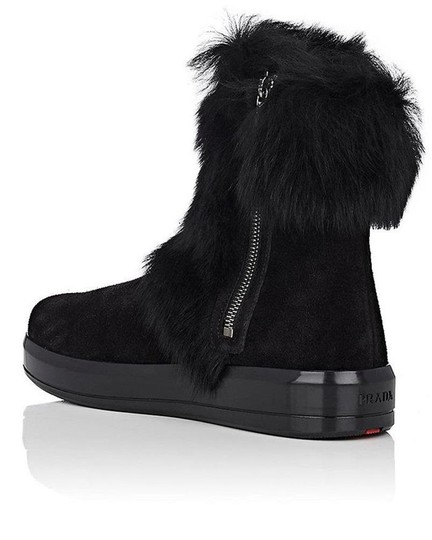Prada Winter Black Fur Shearling Suede Zip Flat Ankle Boots/Booties Boots Image 2