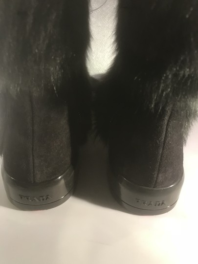 Prada Winter Black Fur Shearling Suede Zip Flat Ankle Boots/Booties Boots Image 3