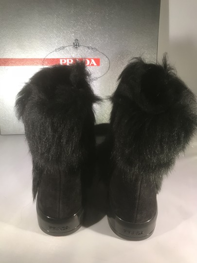 Prada Winter Black Fur Shearling Suede Zip Flat Ankle Boots/Booties Boots Image 5