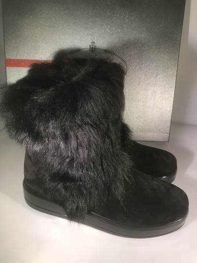 Prada Winter Black Fur Shearling Suede Zip Flat Ankle Boots/Booties Boots Image 8
