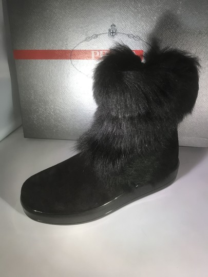 Prada Winter Black Fur Shearling Suede Zip Flat Ankle Boots/Booties Boots Image 9