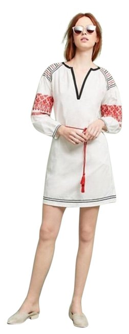 Item - White Orange Embroidered Poplin Short Casual Dress Size 8 (M)