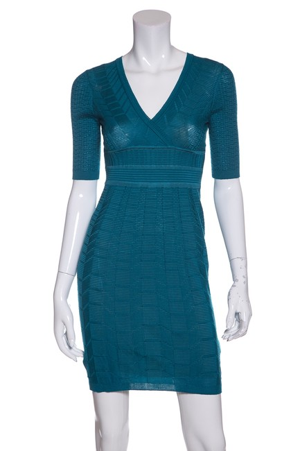 Preload https://img-static.tradesy.com/item/23124903/m-missoni-teal-textured-knit-short-casual-dress-size-4-s-0-0-650-650.jpg