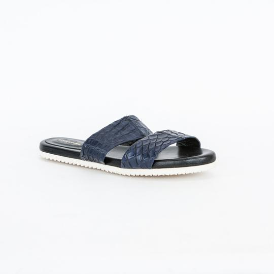 Adam Lippes Leather Navy Blue Sandals Image 1