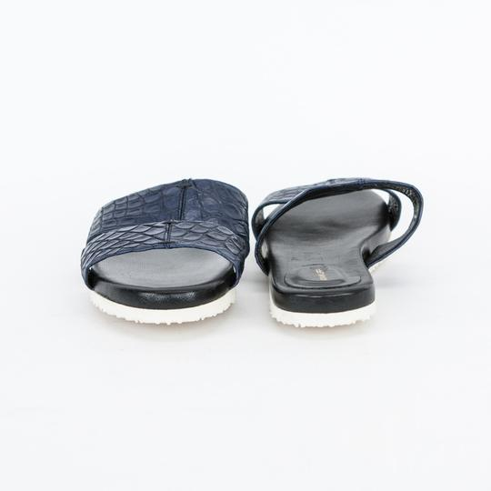 Adam Lippes Leather Navy Blue Sandals Image 3