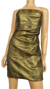 Nicole Miller Strappy Party Bronze Animal Dress